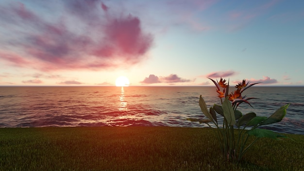 岸から見た夕暮れのビーチ