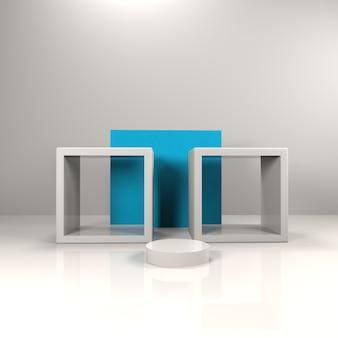 Куб и круг этап с синим фоном для продукта витрина