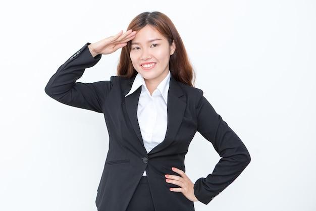 笑顔アジアのビジネス女性挨拶