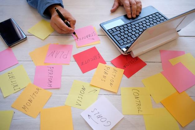計画戦略の準備の実業家の手