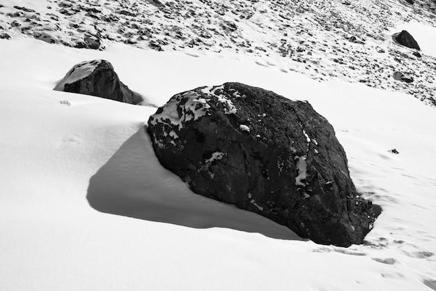 黒と白の襟のヒマラヤ山脈の岩と雪