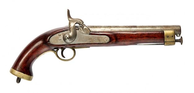 白の木製ハンドル付きの古い手銃