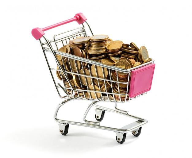 金貨でいっぱいのショッピングカート