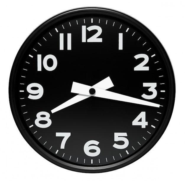 白で丸い黒い壁時計