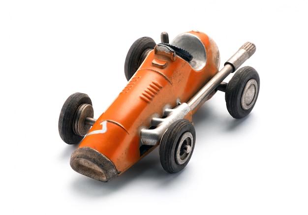 Красочная оранжевая винтажная игрушка гоночный автомобиль