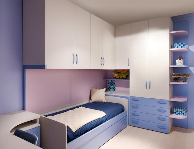 エレガントな紫と青の装飾が施された子供用ベッドルーム