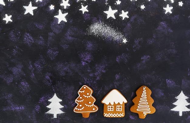クリスマスのジンジャーブレッドクッキーの背景