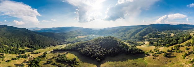 青い空とルーマニアの山の美しい緑の松林のパノラマ