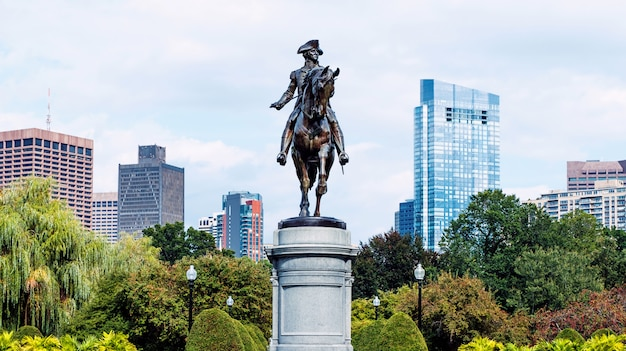 Современные здания и цветы в парке города бостона