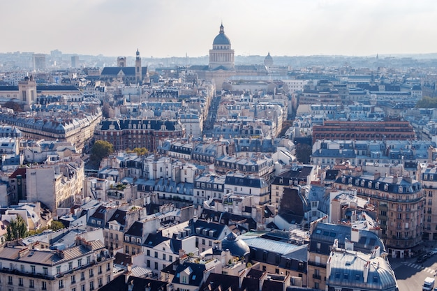 Широкий воздушный городской пейзаж парижа