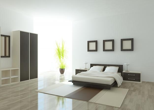 白い寝室のインテリア