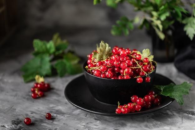 セラミックカップの新鮮なスグリ:赤スグリ、セレクティブフォーカス。テキストのための場所。コピースペース。