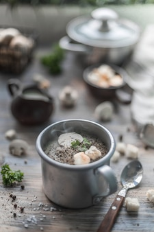 シャンピニオンの蒸しキノコクリームスープ