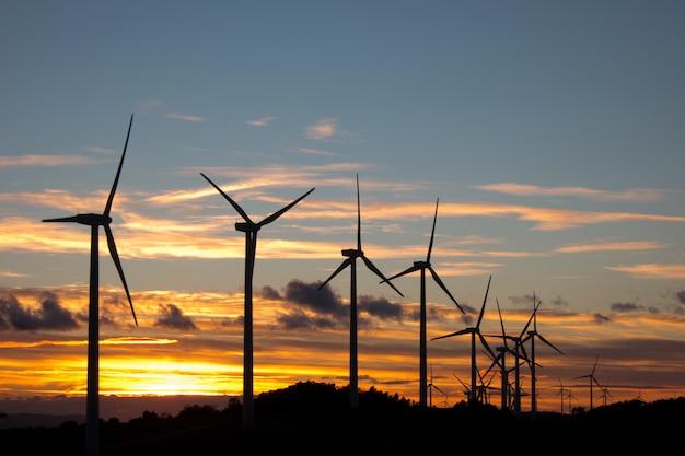 日没時の風力タービン
