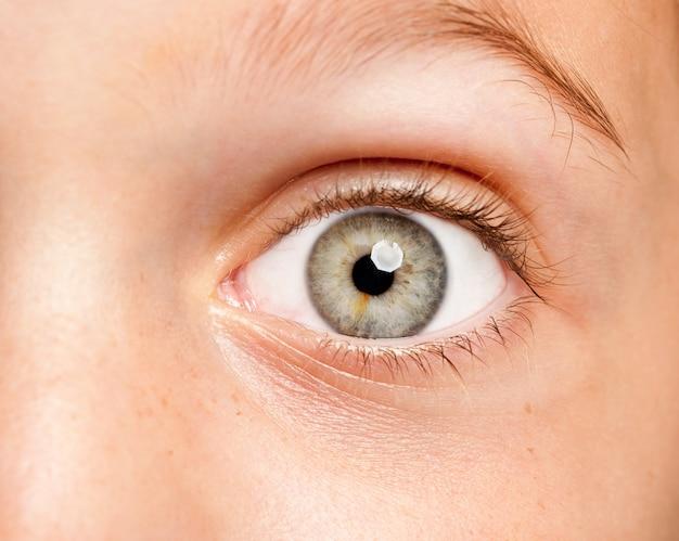 Изображение маленькой девочки с открытым глазом