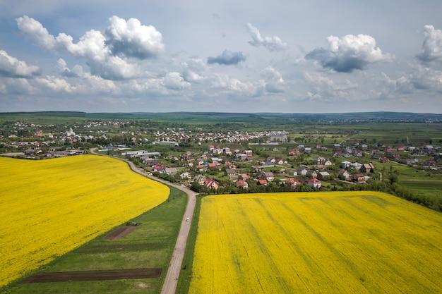 緑の野原の道の空撮