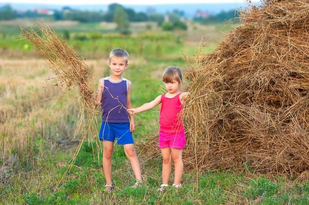 男の子と女の子の干し草の山の近くのフィールド