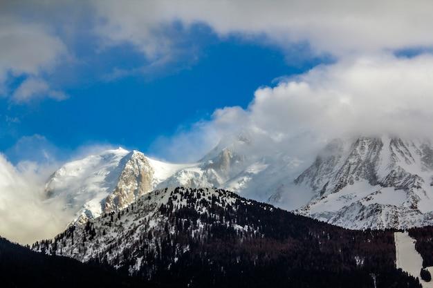 光沢のある雪に覆われたモンブラン山頂の息をのむ空撮