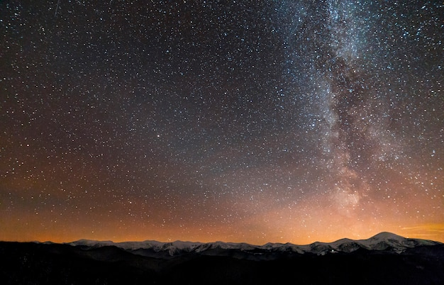 冬の山の夜の風景のパノラマ。