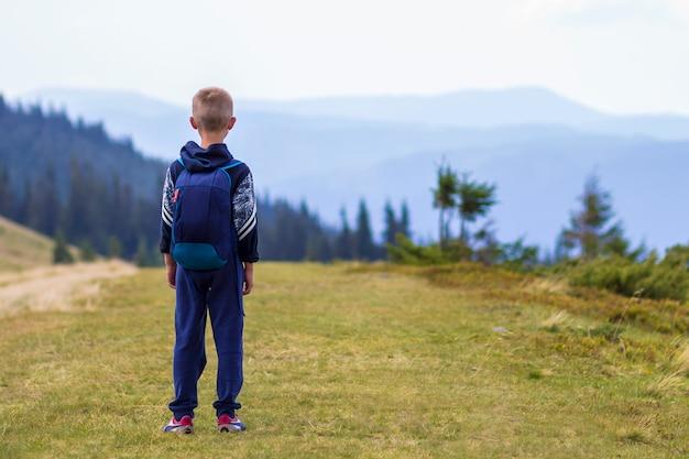 Маленький мальчик с рюкзаком в живописных летних зеленых карпатах