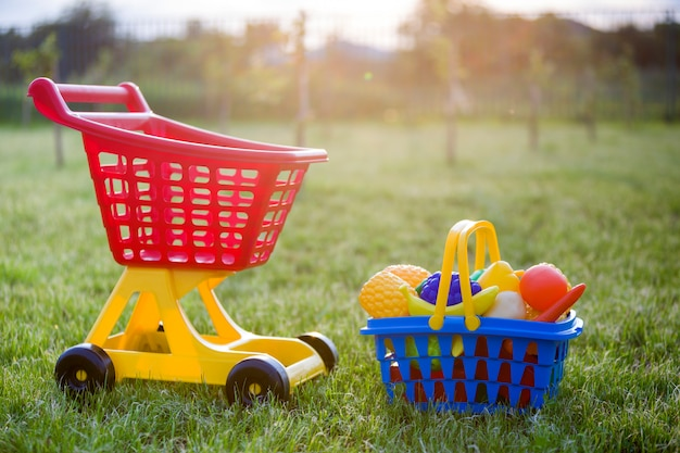 ショッピング手押し車とおもちゃの果物と野菜のバスケット。日当たりの良い夏の日に屋外の子供のための明るいプラスチック製のカラフルなおもちゃ。