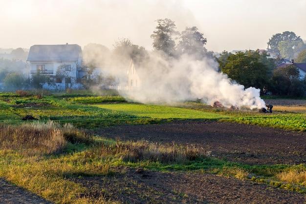 乾燥した葉の有毒な煙で火を起こす農夫
