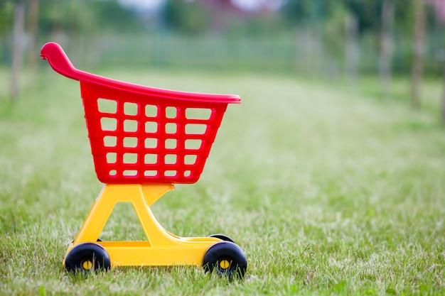 日当たりの良い夏の日に屋外で明るいプラスチック製のカラフルなショッピングカートグッズ