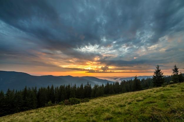 Панорамный летний вид, зеленая травянистая долина на далеких лесистых горах под облачным небом.