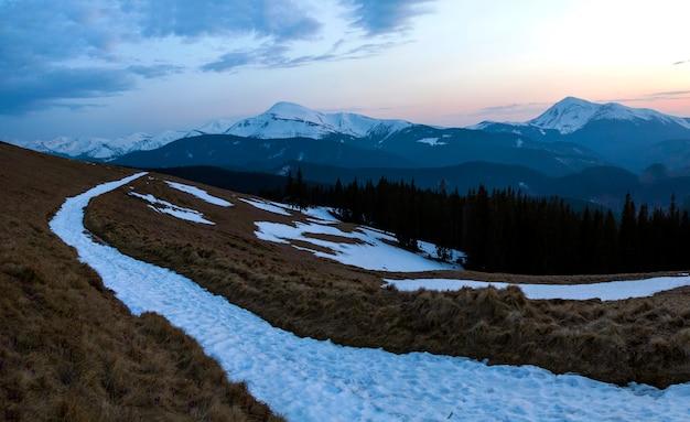 カルパティア山脈の美しい春の夕日のパノラマ。乾いた草と雪、透明な新鮮な空気、密集した常緑樹林、遠くの雪に覆われた山脈に広がる柔らかい太陽のある谷。