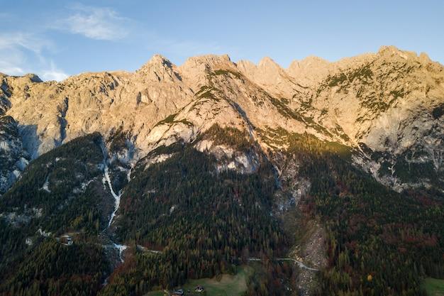 雄大なヨーロッパアルプスの山々の空撮は、秋の常緑の松林で覆われています。
