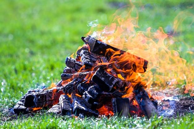 自然に輝くたき火。夏の日の外の木製の板を燃焼します。明るいオレンジ色の炎、軽い煙、緑の背景をぼかした写真の緑の芝生の上の暗い灰。観光とキャンプのコンセプトです。