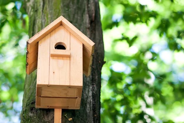 Деревянный желтый дом птицы или коробка вложенности на дереве в парке или лесе лета.