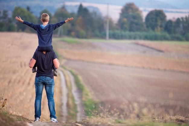 ぼやけた霧の緑の木々と青い空の芝生のフィールドを歩いて肩の息子を運ぶ運動の父の背面図。