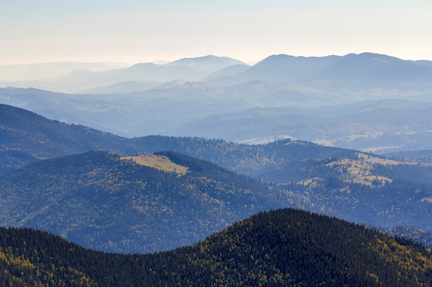 晴れた晴れた日の緑の山の丘の広いパノラマ。夏のカルパティア山脈の風景。緑の松の木で覆われた岩が多い峰の眺め。自然の美しさ。