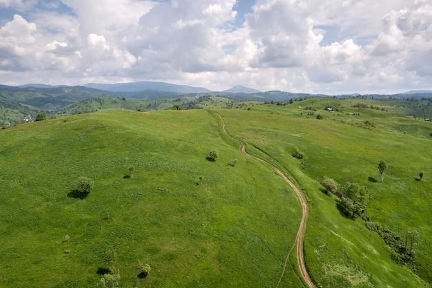 Вид с воздуха зеленых прикарпатских гор покрытых с вечнозелёным еловым сосновым лесом летом солнечный день.