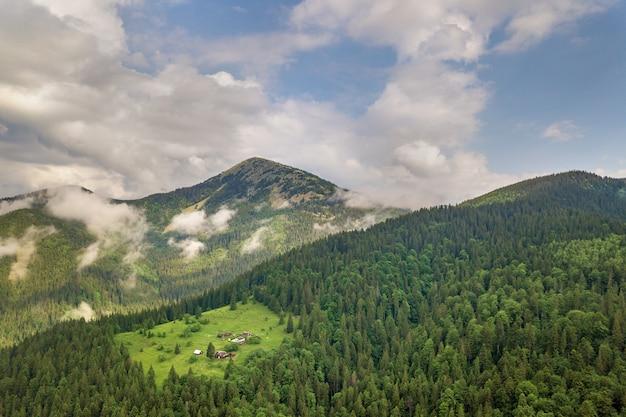 常緑のトウヒの松林で覆われた緑のカルパティア山脈の空撮