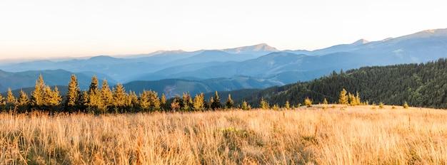 山と太陽に照らされた草原の朝日の出のパノラマ