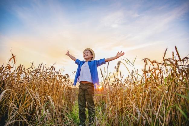 Ребёнок стоя в поле ушей пшеницы широко открытых рук смотря в расстояние усмехаясь с счастьем.