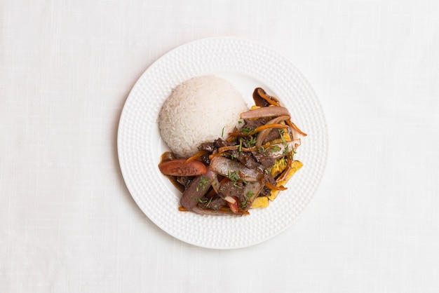 Перуанская еда, вид сверху