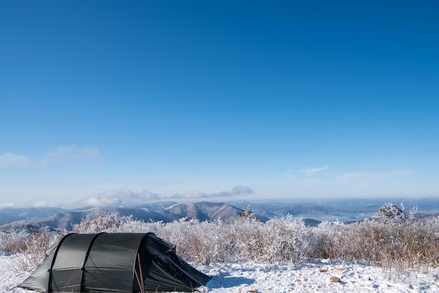 冬、韓国のバルワンサン山