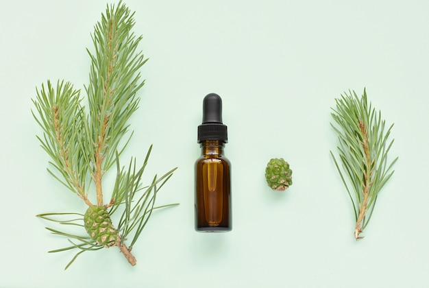 ドロッパーボトルと新鮮な松の小枝に松のエッセンシャルオイル。
