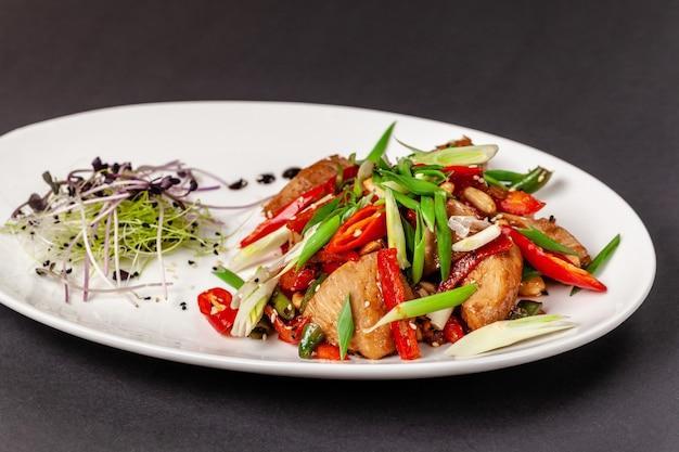 新鮮な野菜と醤油でマリネした鶏ささみ