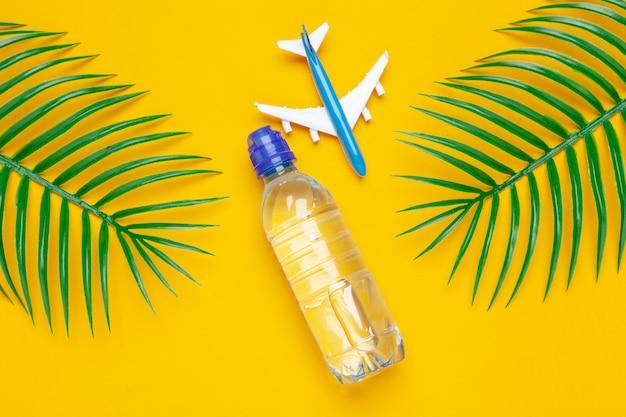 透明な水のボトルとおもちゃの飛行機。観光と澄んだ水のコンセプト
