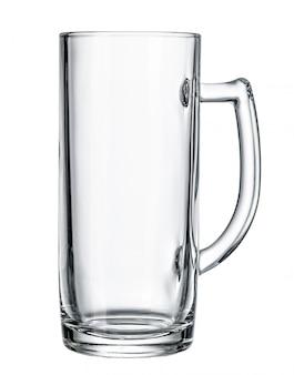 空のビールグラス。白で隔離