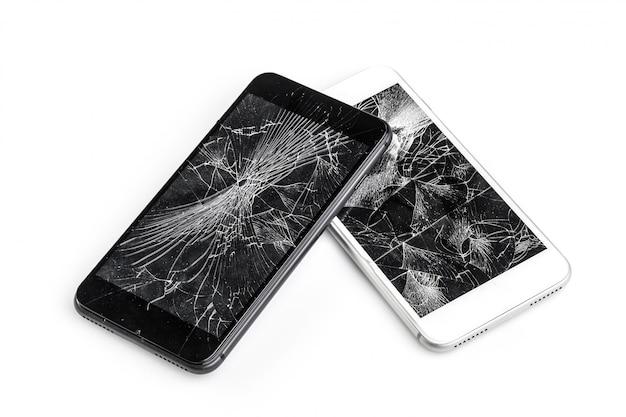 壊れた画面を持つ携帯電話