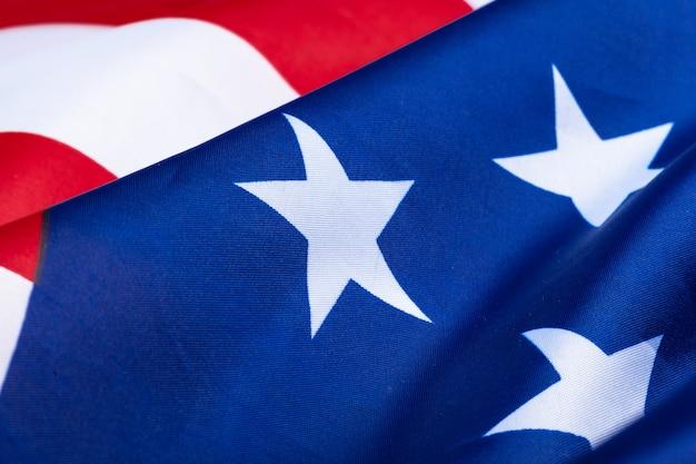 アメリカの旗を振るのクローズアップ