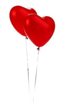 気球。赤いハート形の箔風船の束