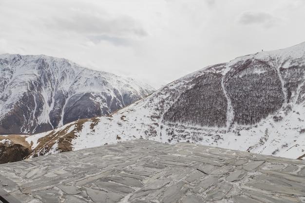 雪に覆われた冬の山