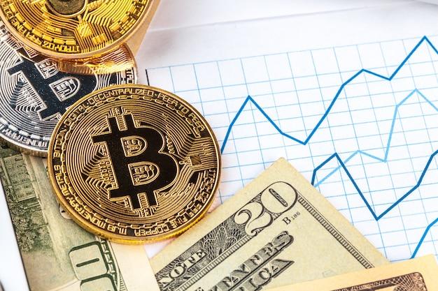 ビットコイン、チャート、米ドル。金融取引