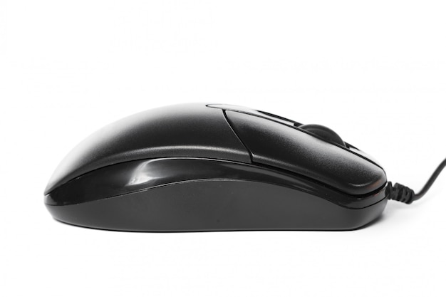 白いコンピューターのマウスに分離
